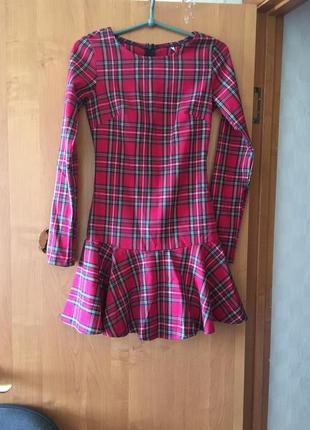Платье шотландская красная клетка