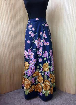 Длинная юбка макси с цветочным принтом