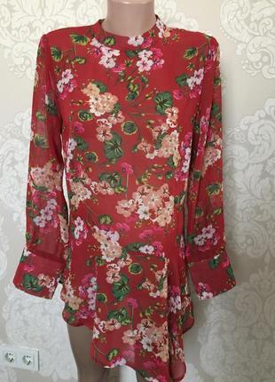 Шифоновая блуза- рубашка/ блуза в цветы