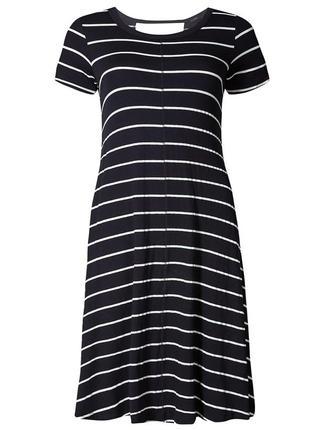 Темно-синее платье в полоску с вырезом сзади1 фото