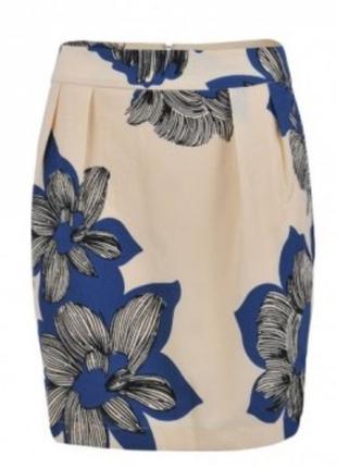 Кремовая шифоновая  новая юбка-тюльпан мини в принт синие цветы