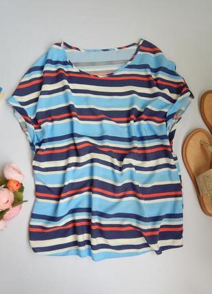 Легкая блуза свободного кроя в полоску вискоза без рукавов