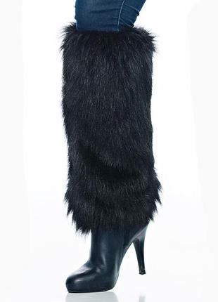 Модные гетры с искусственного черного меха на резинке италия