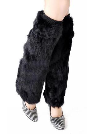 Модные гетры с искусственного черного меха на резинке, размер универсальный италия