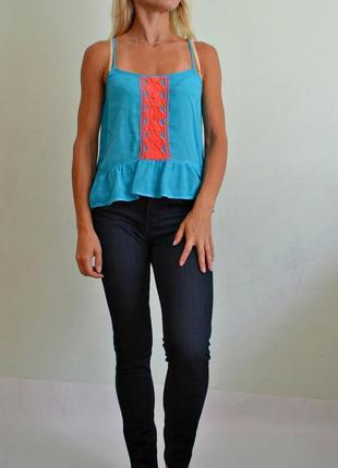 Базовая летняя блуза на тонких бретелях ,топ xxs-xs