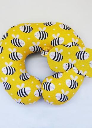"""Комплект для путешествий - пчелки. """"дорожная подушка на шею и маска для сна"""""""