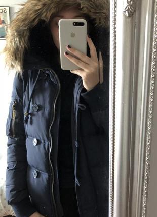 Куртка короткая тёплая с мехом на синтепоне зимняя