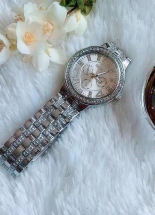 Часы geneva серебро, металлические, минеральное стекло