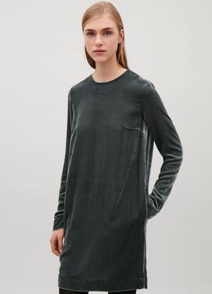 Бархатное платье cos, 38-40, шёлк+вискоза