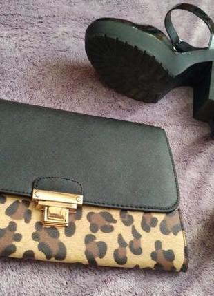 Клатч сумка черная леопард