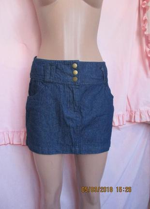 Джинсовая юбка с завышенной талией/широкий пояс 42-44 рр