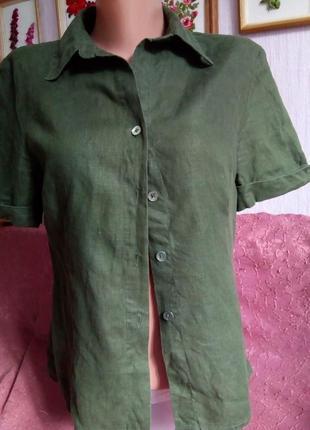 Льон 100%: блузочка хакі jones  р. 36