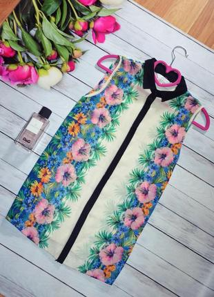 Шифоновая блуза в тропический принт с воротничком