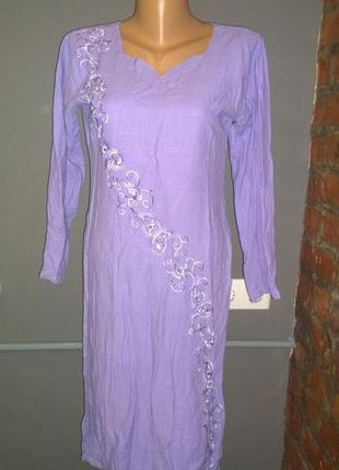 Туника блуза кофточка с вышивкой из 100% льна