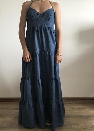 Джинсовое макси платье only