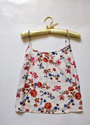Базовая летняя укороченная блуза на тонких бретелях ,топ 12 (m-l)