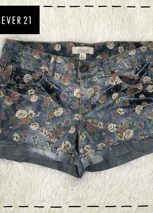 Весенняя распродажа! джинсовые шорты в цветочный принт forever 21