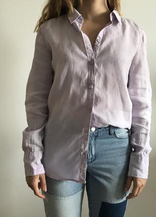 Льняная сиреневая рубашка esprit