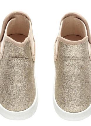 Шикарные золотые искрящиеся хайтопы, ботинки,h&m, 13,5 см