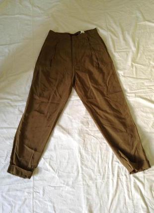 Zara шикарные брюки бананы высокая посадка заужены оригинал