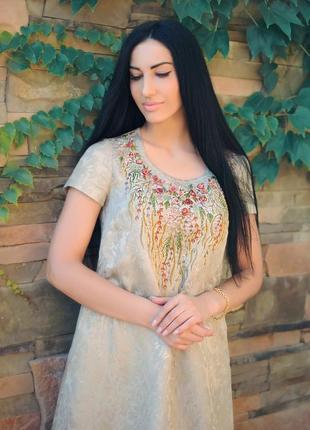 """Жаккардовое платье с ручной вышивкой """"оливковый сад"""""""