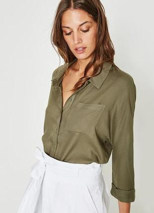 Рубашка хаки devided h&m вискозная сорочка блуза с карманом милитари