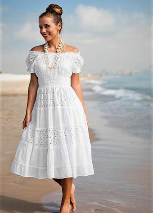 ... Летнее приталенное расклешенное белое платье из хлопка и прошвы с  рукавом фонарик xs s m l2 ... ea45bc93718