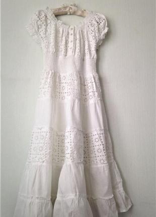... Летнее приталенное расклешенное белое платье из хлопка и прошвы с  рукавом фонарик xs s m l4 ... 6b09e9d8812