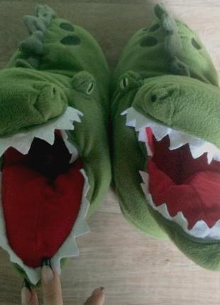 Очень крутые плюшевые тапочки крокодилы 37-39 размер