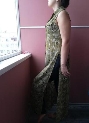 Длинное платье рубашка с завязками сзади и разрезами по бокам - 38 размера