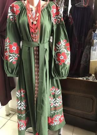 Шикарное платье с вышивкой вышиванка с карманами в стиле вита кин вишиванка 100% хлопок