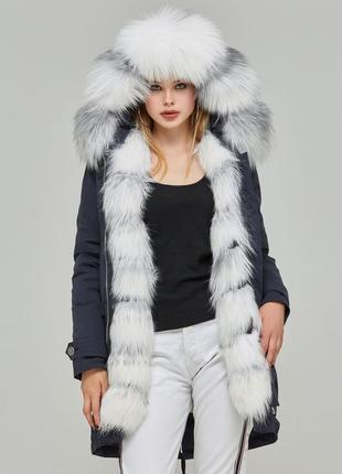 Зимняя парка с натурального меха arnage ar-4m синий arctic fox