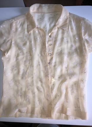Блузка рубашка прозрачная бежевого цвета