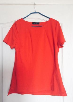 Однотонная оранжевая блуза с коротким рукавом