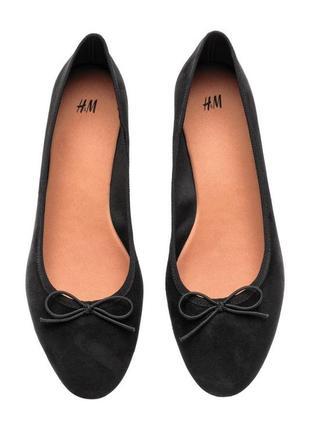 Новые балетки h&m чёрные текстиль
