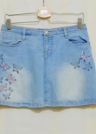 """Оригинальная джинсовая юбка с вышивкой """"rise"""""""
