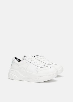 Натуральная кожа. новые кроссовки на платформе zara (36,37,38,39,40)