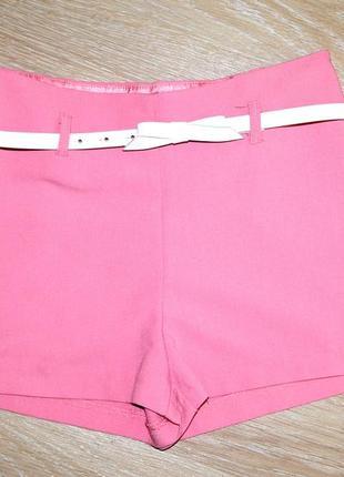 Розовые шорты oodji с высокой талией и белым ремешком р.s-m