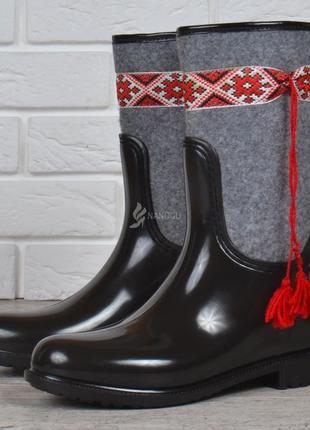 Резиновые сапоги ukrainian fashion войлочные с орнаментом женские высокие с утеплителем