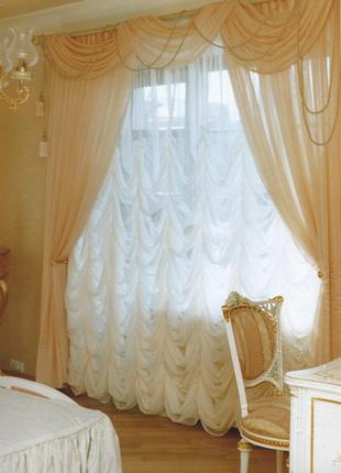 Тюль-органза в стиле французской шторы 3×4,5 м.