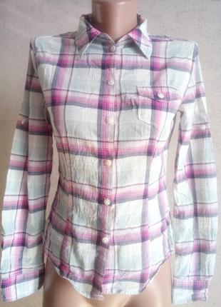 D34/uk8/i38/us4/f36 актуальная блуза, рубашка в клетку с накладными карманами esprit