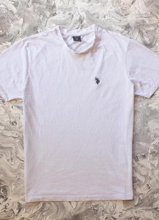 Белая хлопковая футболка u.s. polo assn ralph lauren