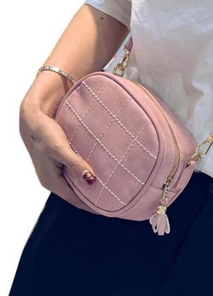 Сумка на длинной ручке в клетку стеганая черная розовая серая сумочка