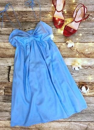 Красивый голубой коротенький сарафан