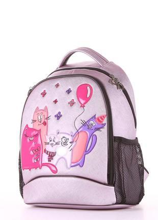 Модный школьный рюкзак со стильным принтом для принцесс розовый перламутр коты
