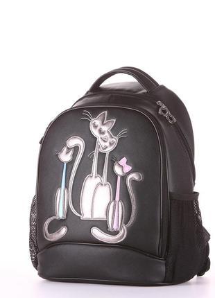 Модный школьный рюкзак со стильным принтом для принцесс черный коты