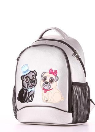 Модный школьный рюкзак со стильным принтом для принцесс серебро мопсы