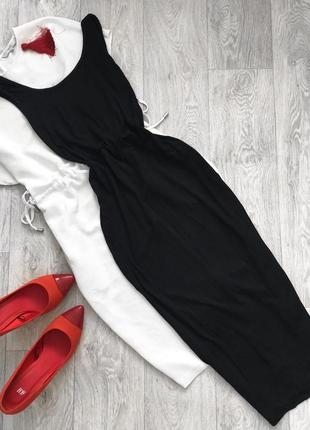 Чёрное платье миди футляр new look