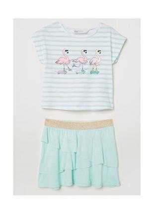 Новый набор футболка и юбочка фламинго для девочки, h&m, 0633325