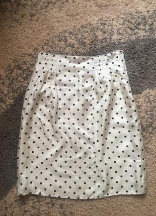 Шелковая юбка на запах zara в горох с высокой посадкой цвета айвори. 100% шёлк